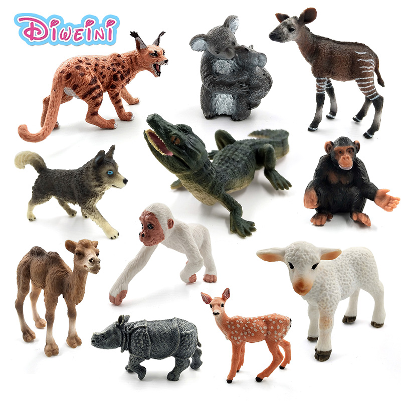 Simulation Sheep Sika Deer Crocodile Lynx Husky Dog Gorilla Rhinoceros Koala Chimpanzee Animal Model Figurine Toy Garden Figures