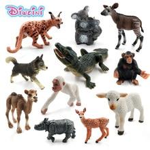 시뮬레이션 양 sika 사슴 악어 lynx 허스키 개 고릴라 코뿔소 코알라 침팬지 동물 모델 입상 장난감 정원 피규어