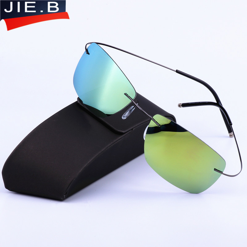 New Men's sunglasses men sun glasses Polarized lenses ultra-light pure titanium frameless glasses vintage metal hingless Design