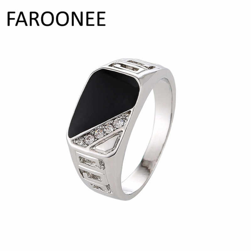 New Fashion Size 7-12 Good Quality Man Jewelry Fashion Silver Gold-Color Black Enamel Men Finger Ring Accessories