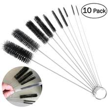 wholesale 10pcs Nylon Tube Brushes Straw Set for Drinking Straws / Glasses / Keyboards / Jewelry Cleaning free shipping(China)