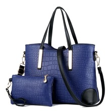Female Solid Color bags Office Lady 2pices Composite Bag Fashion Women Alligator Handbag Hot Sale High Capacity Female Tote Bags 2017 hot selling women fashion handbag alligator pattern tote bag female big handbags office lady famous brands top handle bags