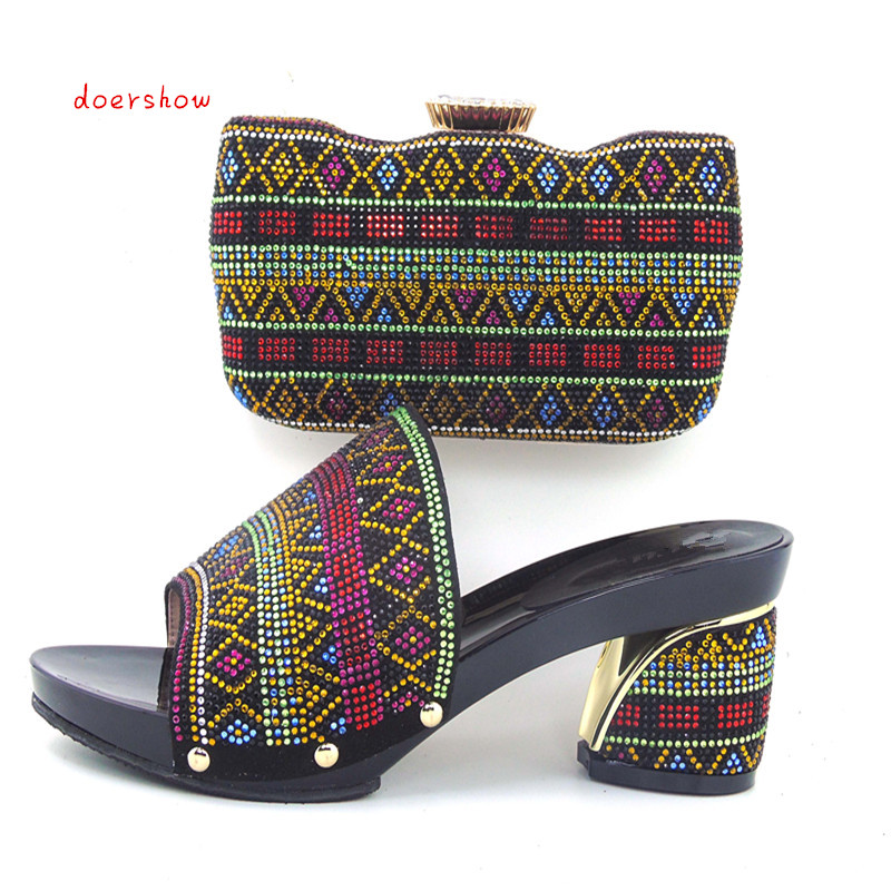 doershow Free Shipping Italian Women Shoes And Bags To Match Set Sale Beaded African Matching Shoes And Purse In BLACK HHY1-8 cd158 1 free shipping hot sale fashion design shoes and matching bag with glitter item in black