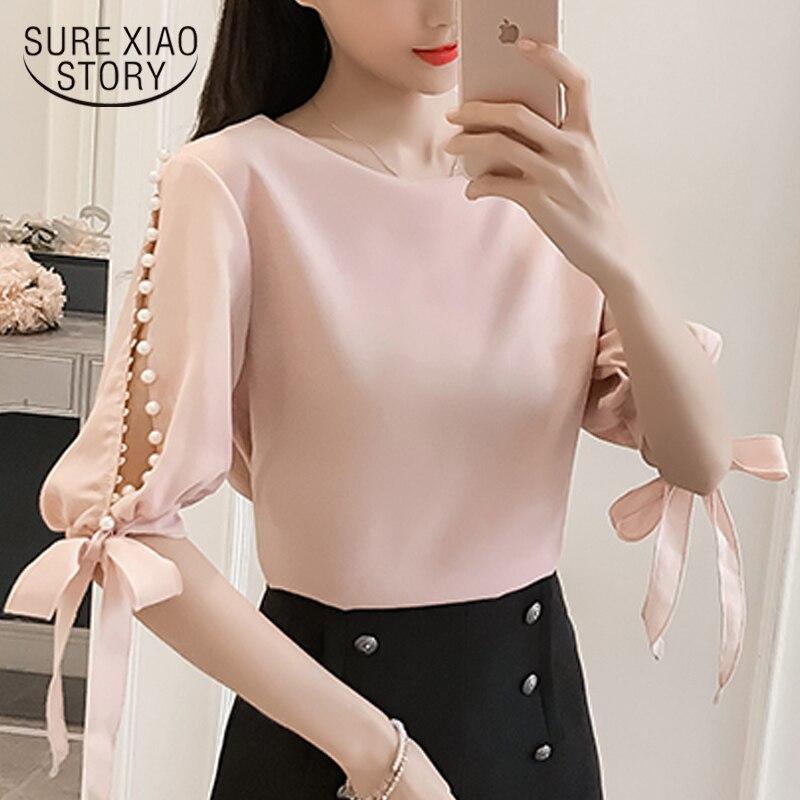Neue 2018 Sommer Perle Hülse Lose Frauen Blusen Hemd Weißes Hemd Koreanische Chiffon Hemd Kleine Frische Tops Weibliche Blusas 0359 40