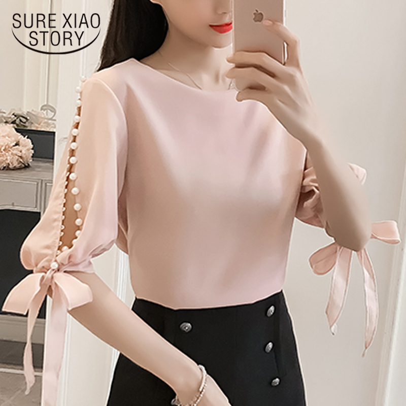 New 2019 Summer Pearl Sleeve Loose Women Blouses Shirt White Shirt Korean Chiffon Shirt Small Fresh Tops Female Blusas 0359 40