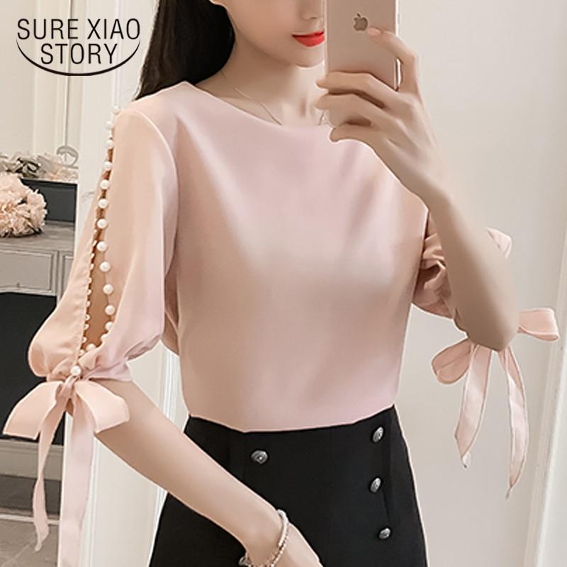 New 2019 Summer Pearl Sleeve Loose Women Blouses Shirt White Shirt Korean Chiffon Shirt Small Fresh Tops Female Blusas 0359 40