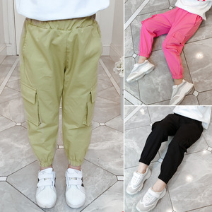 Image 2 - Casual Kids Girls Cargo Pants Pure Color Summer Cool Trousers Pocket Loose Pant for Teen Girl 4t 8 12y Children Clothing Spring