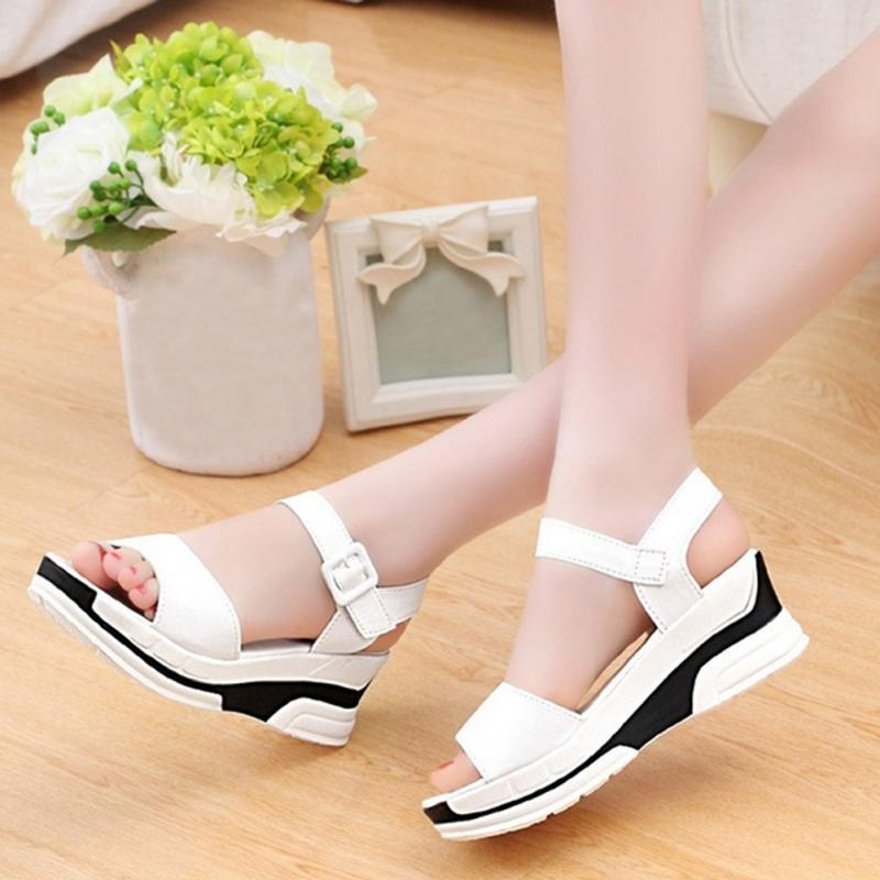 2018 New Fashion Summer Korean style muffin fish head women sandals with platform sandals simple design wedge shoes women shoes sandals 2018 new arrivals bowtie fashion summer women fish head sandals