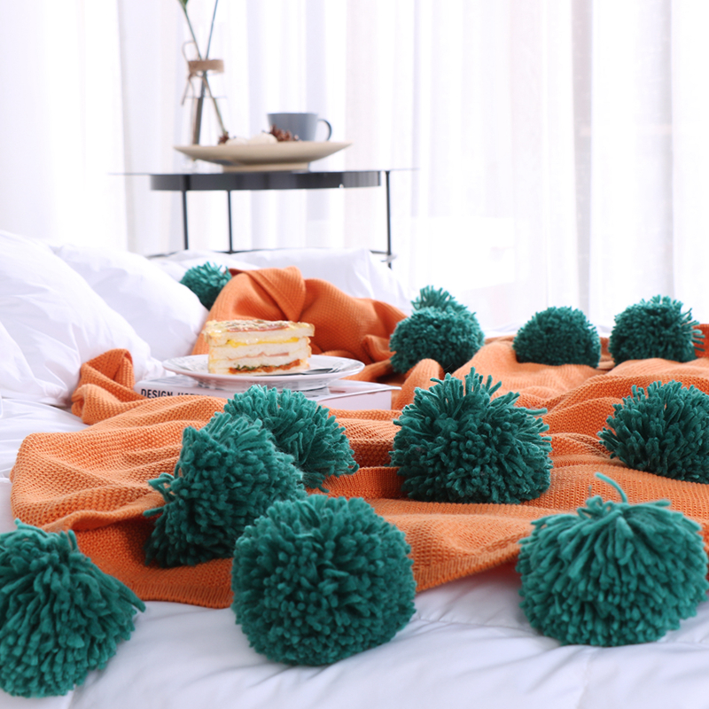 100% Cotton, Dark Blue, Gray, Orange, Green Bed / Sofa / Plane / Travel Home Blanket