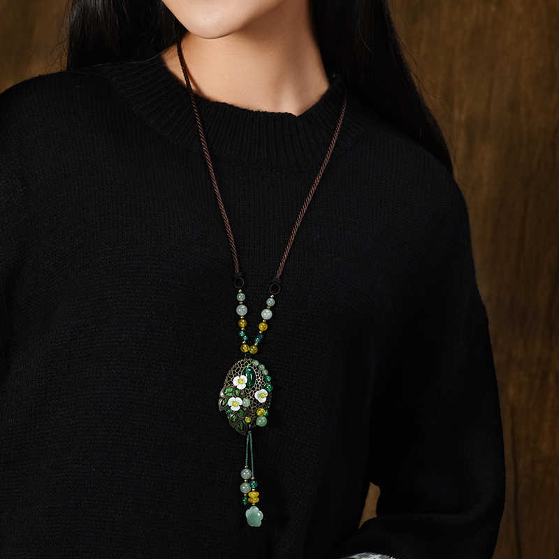 Желтые зеленые цветы Мода природа камни винтажное ювелирное ожерелье, новое национальное ожерелье авантюрин цветы ожерелье