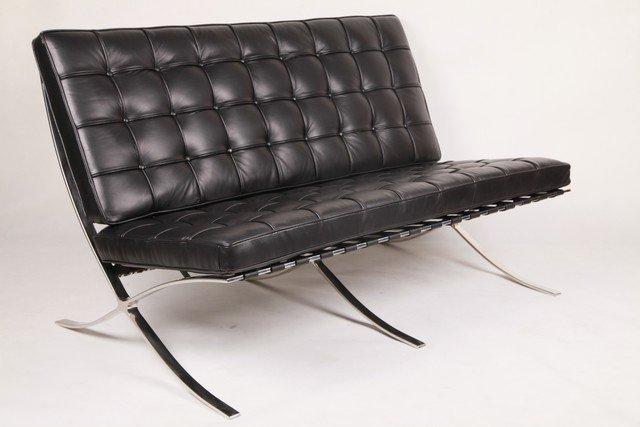 Ludwig Mies Van Der Rohe Style Barcelona Sofa 2 Seat-in