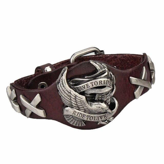 4107a85a1eb0 Punk Rock pulsera de cuero para Hombre de la joyería águila Braclet hombres  Hippie Pulseira Couro
