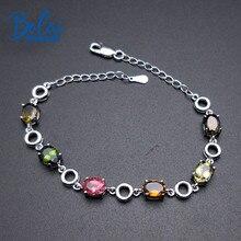 Bolai 5.3ct natural tourmaline link bracelet solid 925 sterling silver multi color gemstone fine jewelry for womens bracelets