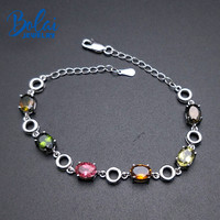 Bolai 5.3ct natural tourmaline link bracelet solid 925 sterling silver multi color gemstone fine jewelry for women's bracelets