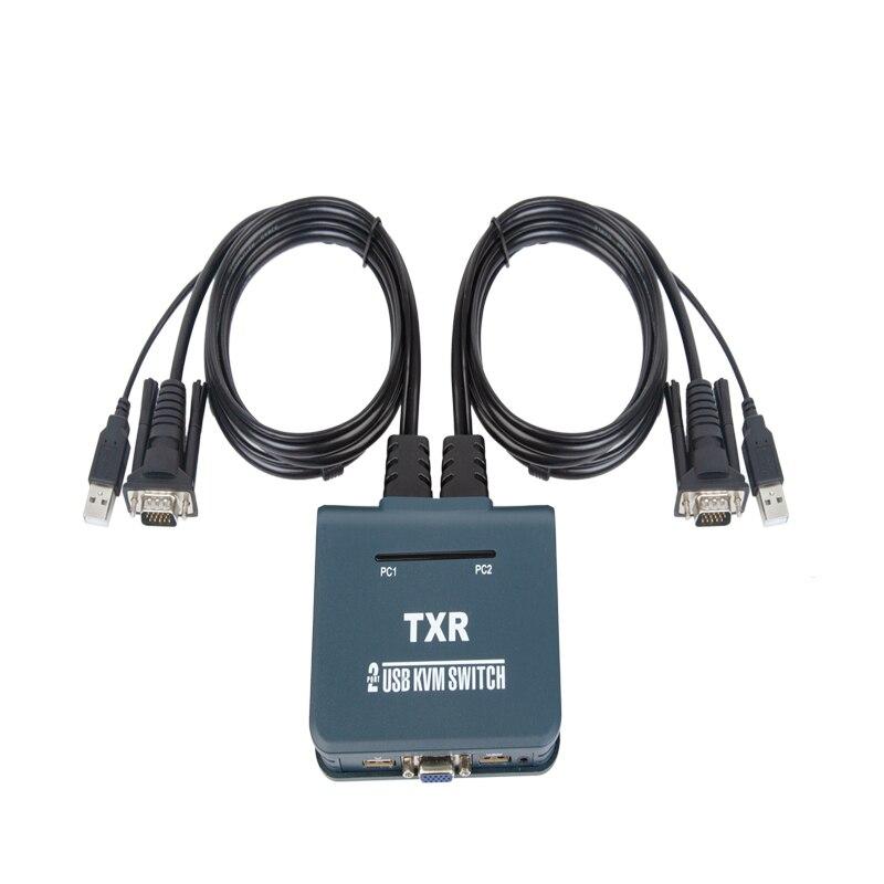 Купить с кэшбэком 2 ports VGA KVM Switch mode button remote hot key High quality Keyboard switching  Controller switching  VGA cable 1.2m