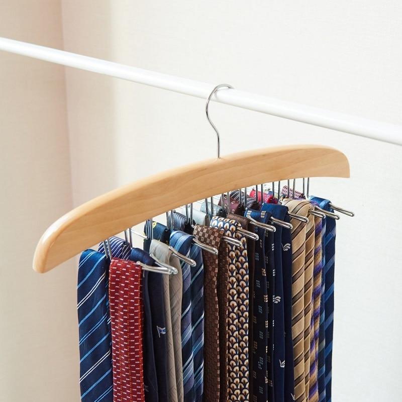 Hangerlink Natural Beech Wood Single Wooden Tie Hanger Organizer Rack - Hjem opbevaring og organisation - Foto 6