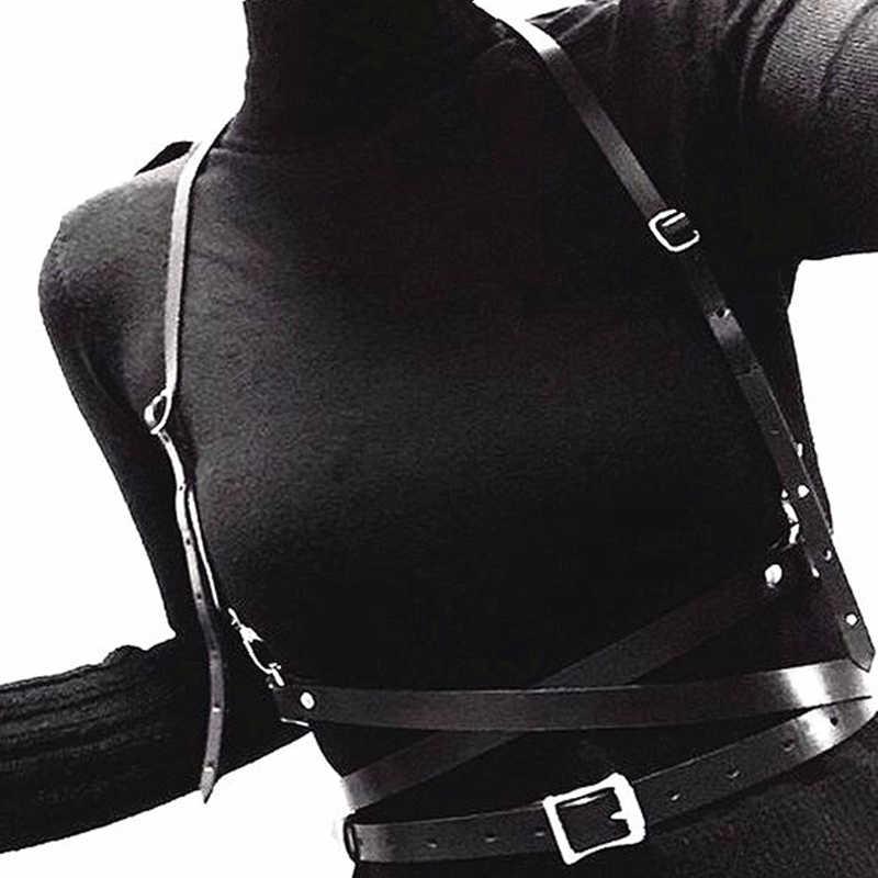 Nowych kobiet skórzane metalowe koło szelki pas Punk Gothic krępowanie ciała klatka Harajuku O-Ring talia pasy szelki pas kobiet
