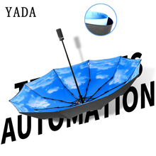 YADA 10K Luxury Folding Blue Sky&White Clouds Auto Men Umbrella For Women UV Sun Rainy Windproof Automatic Female YD087