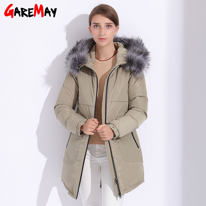 Womens Parkas Winter Fur Jacket 2017 Plus Size Basic Hooded Jacket Coats For Women Manteau Femme Hiver Down Cotton Parka GAREMAY new 2017 winter women coat long cotton jacket fur collar hooded 2 sides wear outerwear casual parka plus size manteau femme 1858
