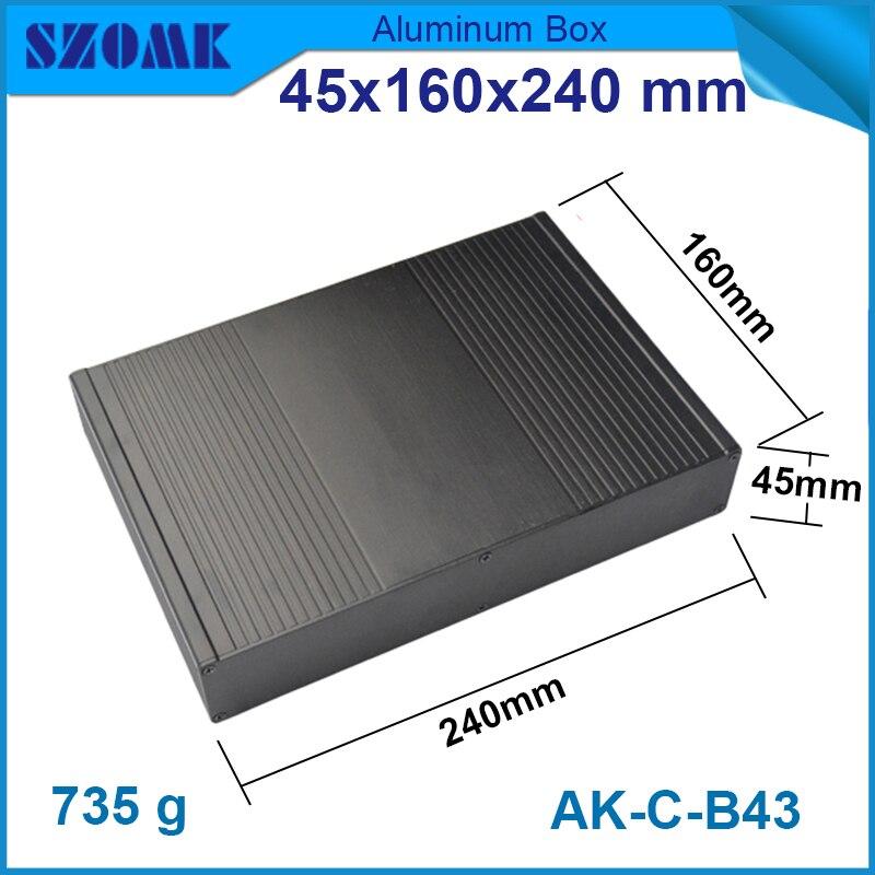 1 pièce livraison gratuite couleur noire revêtement en poudre boîte unique en aluminium pour projet électronique 45 (H) x160 (W) x240 (L) mm