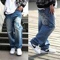 Мужская хип-хоп джинсы черный мешковатые штаны скейтборд танцы джинсы хип-хоп мальчика мода брюки хип-хоп большая талия размер 30-46