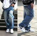 Mens Hip Hop Jeans Black Baggy Pants Skateboard Dancing Jeans Hiphop Boy's Fashion Trousers Hip-Hop Big Waist Size 30-46
