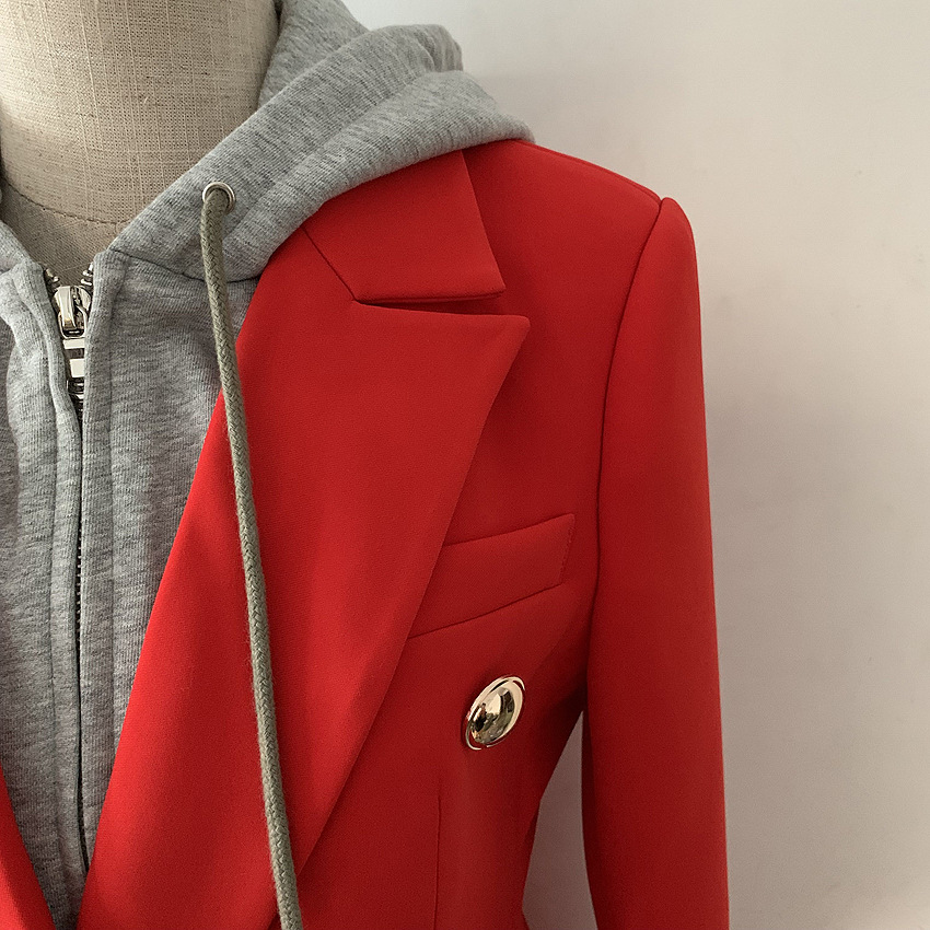 Jacket Woman Spring Autumn 2019 New Fashion Red Blazer Double Breasted Pocket Hooded Casual Long Sleeve Jacket Ladies Blazer
