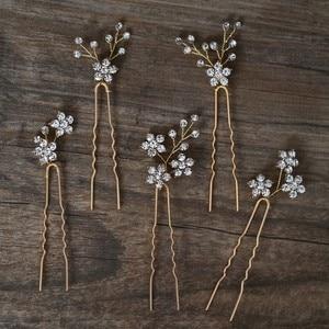 Image 5 - Jonnafe Shine Rhinestone Floral Wedding Hair Pins Set Gold Silver Color Bridal Hair Jewelry Accessories