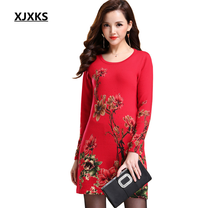 XJXKS High Quality Autumn Comfortable Wool Knitted Pullover And Sweater Dress Prnt Flowers Stretch Women Long