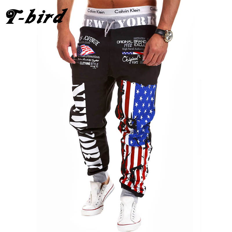 T-bird Jogger Pants Outdoors Hip Hop Joggers Men 2017 Male Letter Print Harem Street Pants Sweat Pant Mens Trousers sweatpants