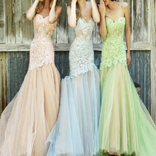 Stunning Mermaid Tulle Bridesmaid Dresses 2017 Corset Prom Gowns Wedding Maid of Honor Lace Beaded Party Dress Blue Green Pink