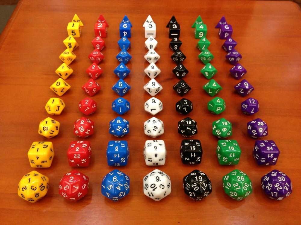 Dungeons and Dragons dice 10 granos de un juego (D4, D6, D8, D10, D12, D20, D24, D30), d & d, Dados millonarios Juguetes, regalo de Navidad
