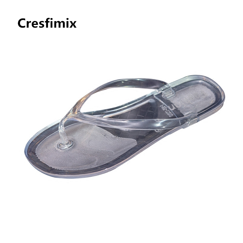 Cresfimix women fashion sexy transparent flip flops female casual spring and summer flat flip flops lady soft beach flip flops cresfimix women fashion