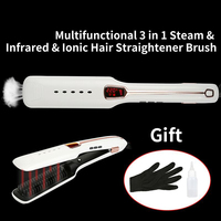 Hot Steam Hair Straightener Brush Comb Infrared Negative Ion Hair Care Electric Hair Straightener Comb Steam Spray 450F Ceramic