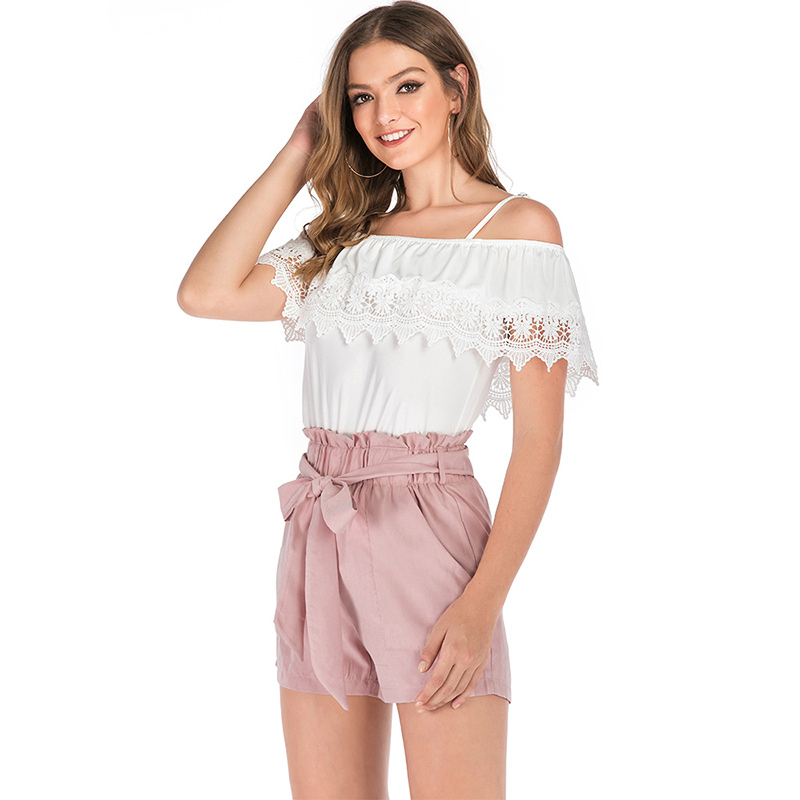 Women's Solid Pockets Bow Pink Shorts Elastic Band Lace Up Shorts For Feminine Woman 2019 Summer Fashion Sweet Ladies Clothing