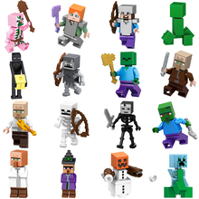 2018 NEW Minecraft Figures Steve Alex Villager Zombie Pigman Enderman Compatible LegoING Minifigure Singles Building Blocks Toys