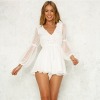 Lace up Puff Sleeve White Playsuit Summer Sexy Hollow out Backless Rompers Feminino Jumpsuit V neck Jumpsuits For Women 2018
