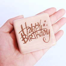 Handmade Wooden Happy birthday Music Box Birthday Gift Party Supply free gifts bracelet special souvenir gift box