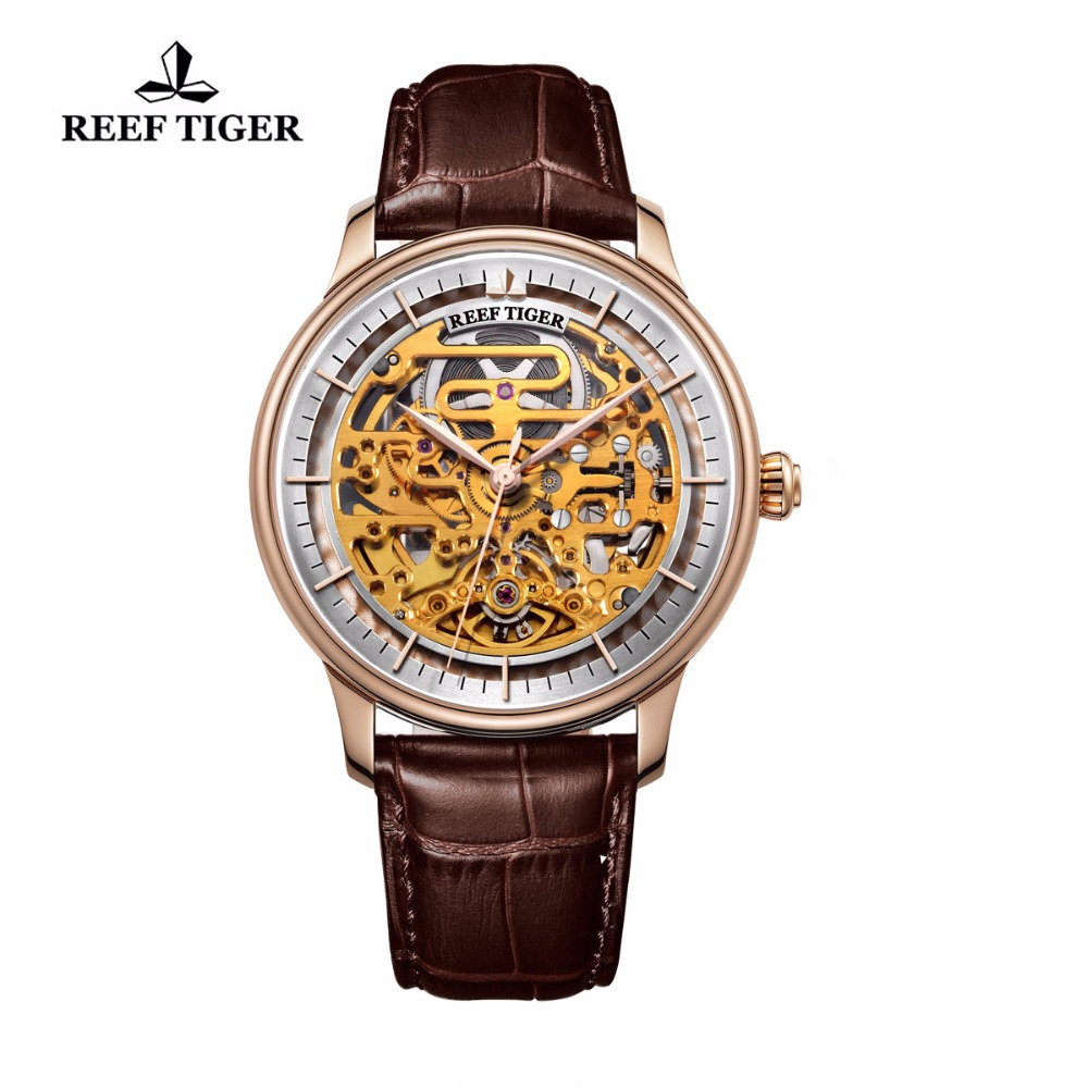 Reef Tiger/RT Skeleton Automatic Watch Rose Gold Brown Leather Strap Wrist Watch Ultra Thin Unique Watch Men 2019 RGA1975Reef Tiger/RT Skeleton Automatic Watch Rose Gold Brown Leather Strap Wrist Watch Ultra Thin Unique Watch Men 2019 RGA1975