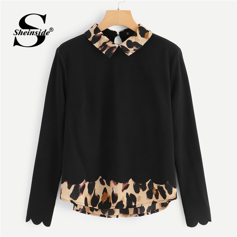 Sheinside Black Women   Blouses   Long Sleeve   Shirts   Contrast Collar And Hem Scalloped Ladies Tops 2018 Autumn Elegant   Blouse     Shirt