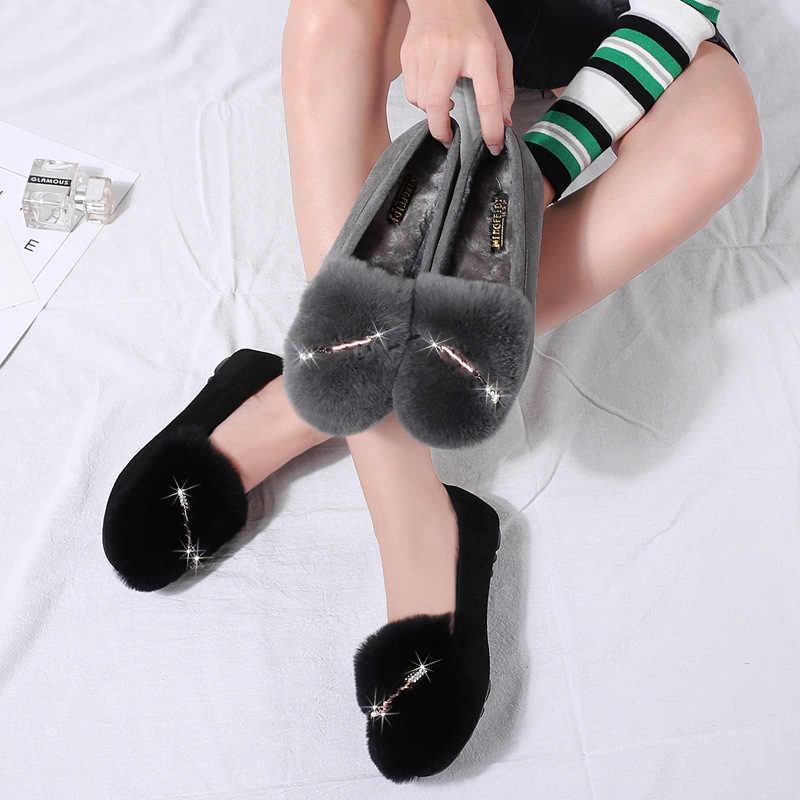 Женская обувь; балетки на плоской подошве; сезон осень-зима; бархатная кожаная обувь из флока с кроличьим мехом; теплая Модная обувь со стразами; женская обувь; большие размеры