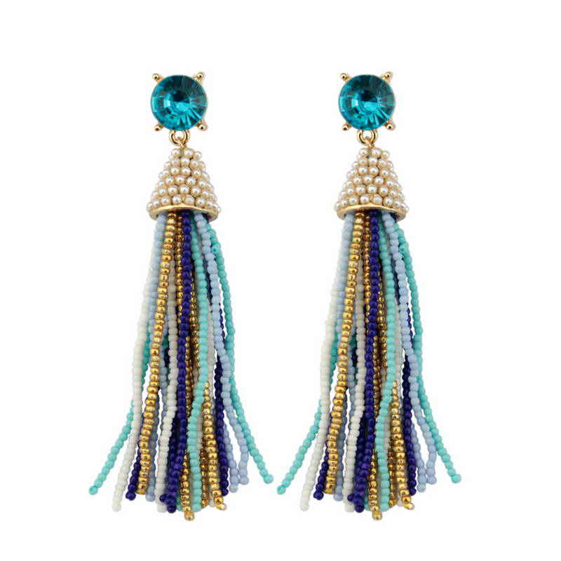 Colorful Seed Beaded Long Tassel Earrings for Women 2017 Trendy Glass Crystal Jewelry Wholesale