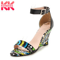 KemeKiss New Sandals Women Ankle Strap Print High Heels Summer fashion Shoes Wedges Women Party Ladies Footwear Size 34 43