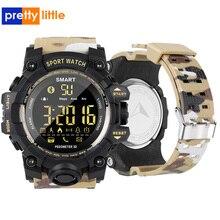 Ex16s relógio inteligente camuflagem camo esporte relógio homem correndo passo passometer monitor de sono chamada lembrete cronômetro relógio à prova dwaterproof água