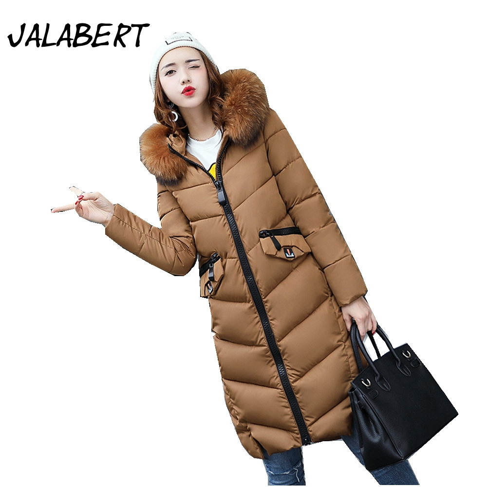 JALABERT New winter women 's fashion Slim thin knee long cotton warm coat Female Fur collar thick hooded parkas jacket women winter coat leisure big yards hooded fur collar jacket thick warm cotton parkas new style female students overcoat ok238