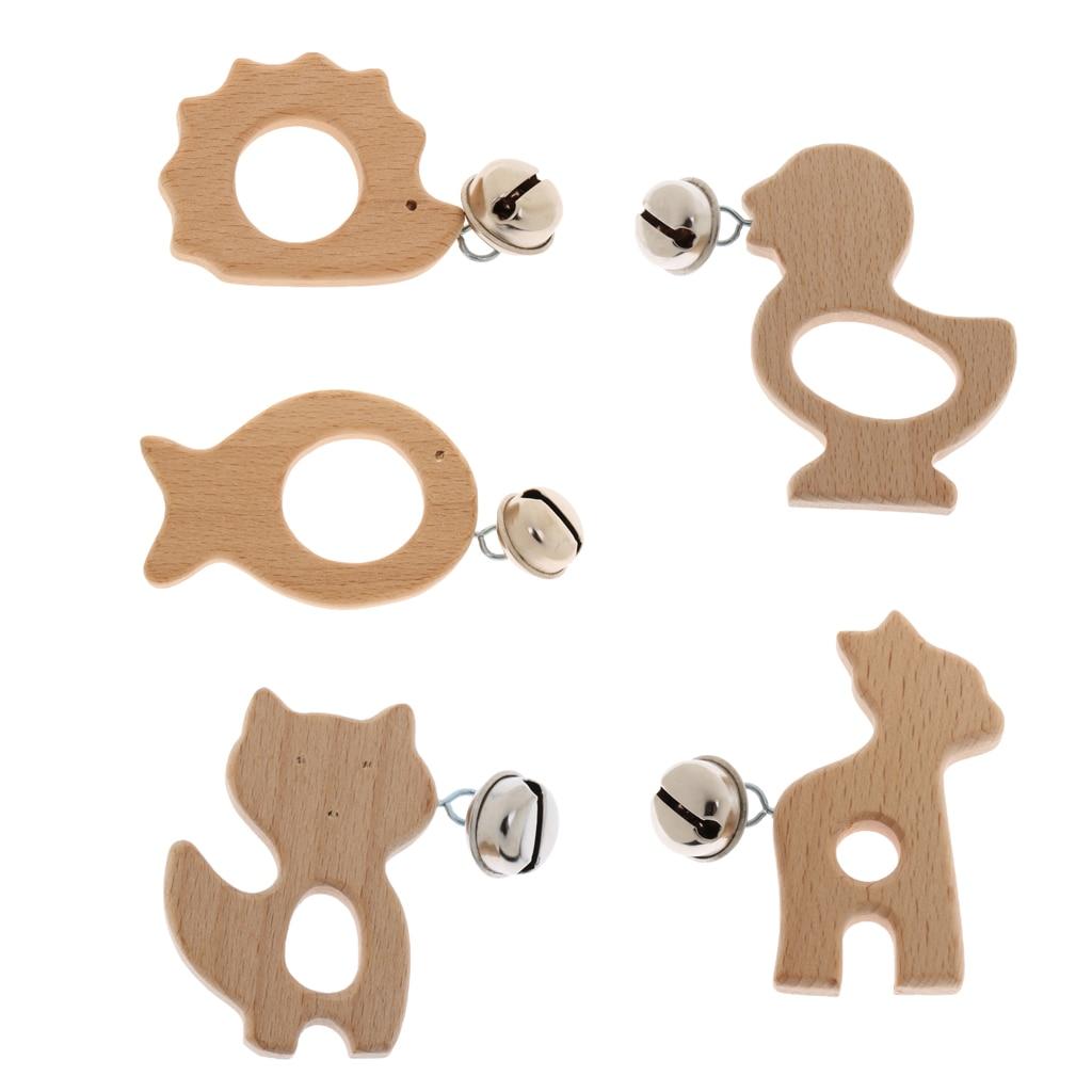 Genial Tooyful Neuheit Holz Tier Form Hand Schütteln Glocken Handheld Jingle Glocke Für Baby Kleinkind Krippe Rassel Spielzeug