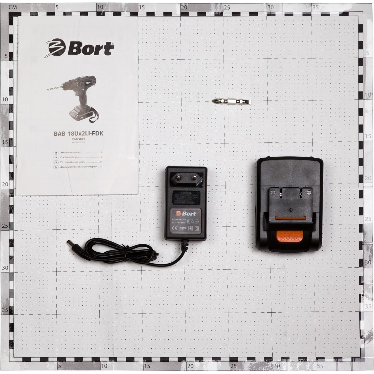 Дрель-шуруповерт аккумуляторная Bort BAB-18Ux2Li-FDK (напряжение 18 В, 2 скорости, 2 аккумулятора, Li-Ion батарея, сумка)