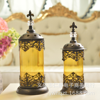 C Iron crafts retro glass candlestick Christmas Candlestick wholesale wedding photography Home Decoration