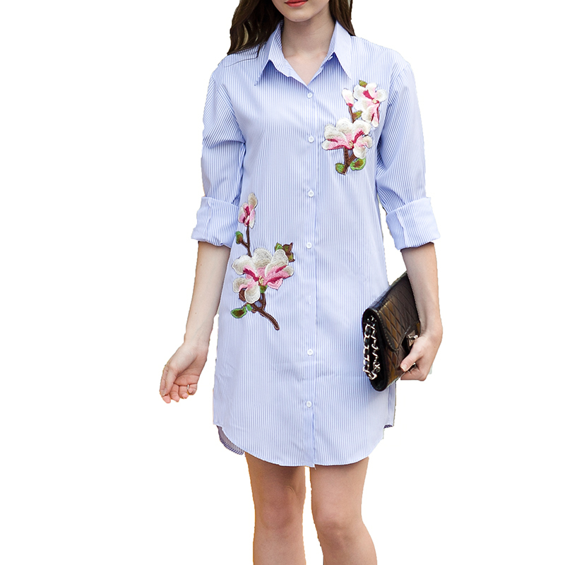 Fashion Embroidery Striped Summer Dress 2018 Womens Long Sleeve Turn-down Collar Casual Dress