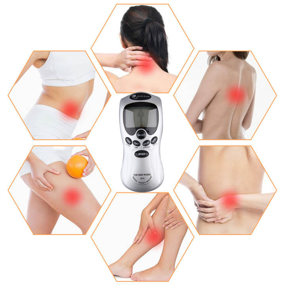4 Electrode Health Care Tens Acupuncture Electric Blue LCD Digital Therapy Machine Pulse Body Slim Sculptor Massager Apparatus 2017 hot sale mini electric massager digital pulse therapy muscle full body massager silver
